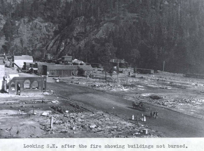 item thumbnail for Looking southeast at Kendrick after the fire, showing buildings not burned