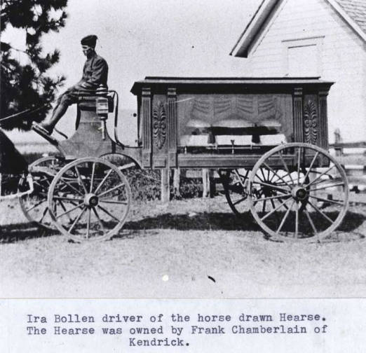 item thumbnail for Funeral of Eddie Snieve showing hearse and Ira Bollen