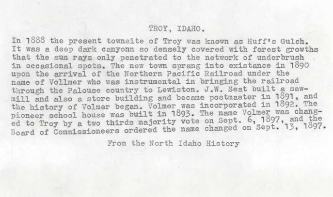item thumbnail for Typescript of the history of Troy, Idaho's name