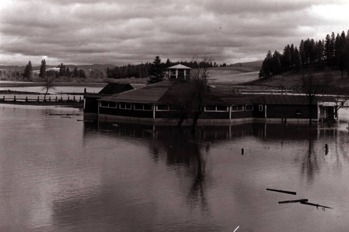 item thumbnail for Looking northeast at the Kennedy Ford dance hall during flood