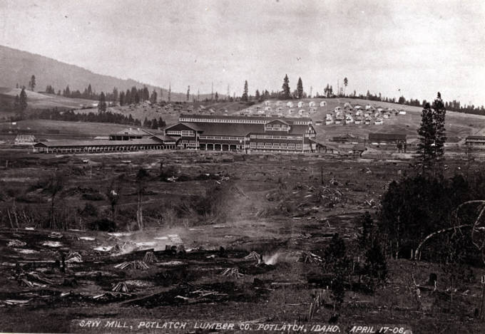 item thumbnail for Looking east at the Potlatch Lumber Company sawmill