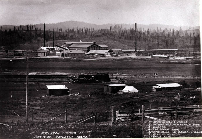 item thumbnail for Looking southwest at Potlatch Lumber Company mill [02]