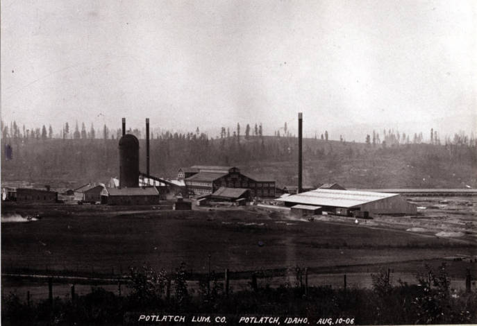 item thumbnail for Looking southwest at Potlatch Lumber Company mill [01]