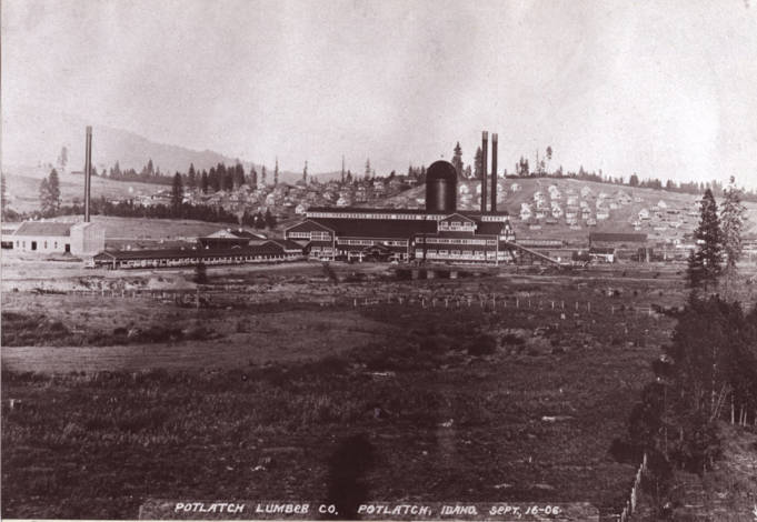 item thumbnail for Looking northeast at Potlatch Lumber Company mill and town