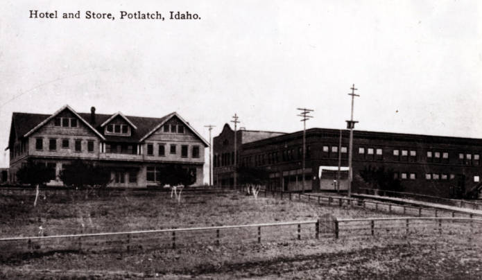 item thumbnail for Hotel at left and Potlatch Mercantile Company store at right