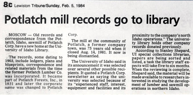 item thumbnail for Newspaper article about Potlatch library receiving mill records