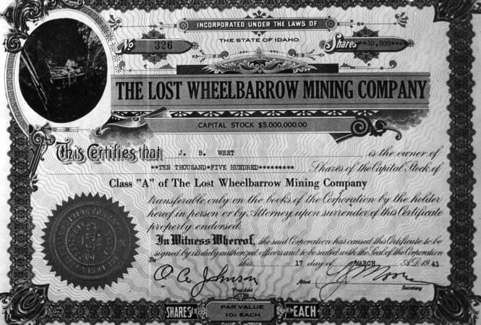 item thumbnail for Lost Wheelbarrow Mining Company certificate