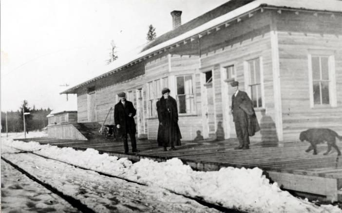 item thumbnail for W.I.&M. [Washington, Idaho & Montana] Railway train and depot in Bovill [01]