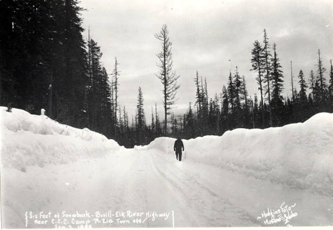item thumbnail for Snow scene showing six foot snowbank on the Bovill-Elk River highway