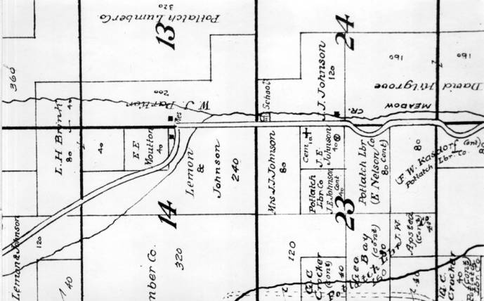 item thumbnail for Closeup of map section of plats, streets, and property holders