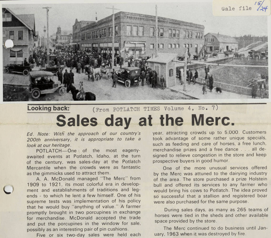 item thumbnail for Sales Day at the Merc.