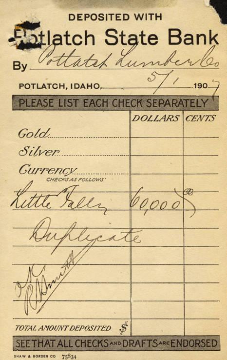 item thumbnail for Potlatch State Bank Deposit Slip