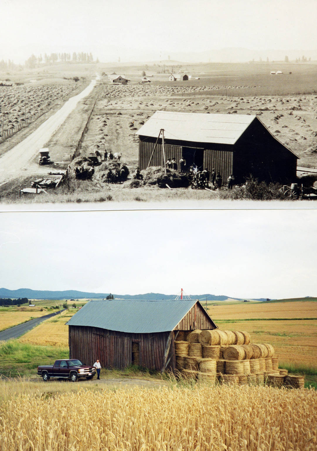 item thumbnail for Then and now picture of barn in northern Latah County