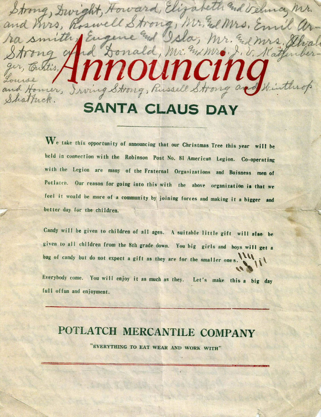 item thumbnail for Announcement of Santa Claus Day