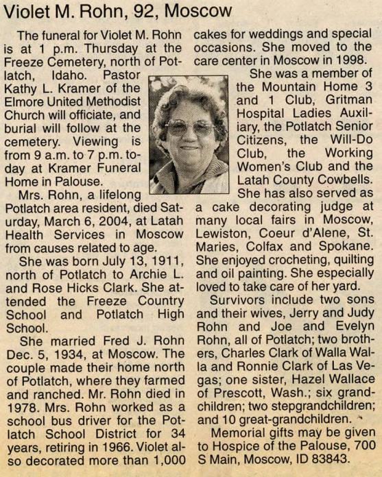 item thumbnail for Obituary for Violet Rohn