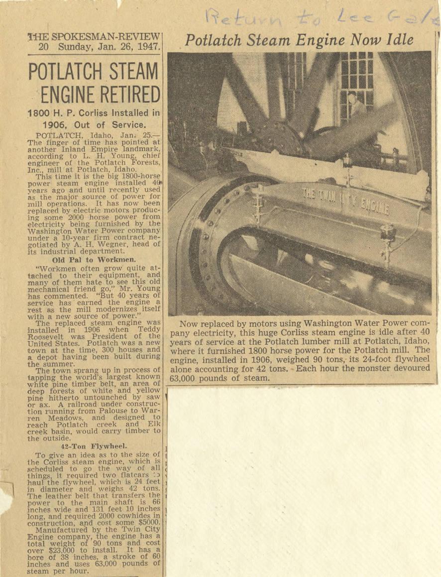 item thumbnail for Potlatch Steam Engine Retired