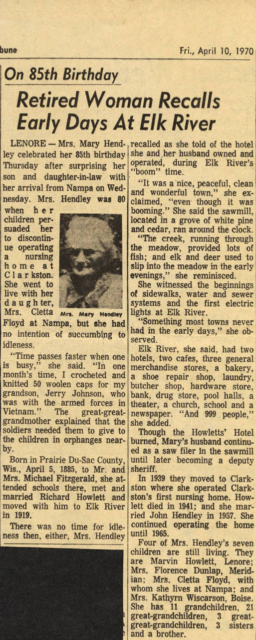 item thumbnail for Mary Hendley Recollection of Elk River