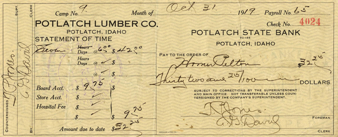 item thumbnail for Potlatch Lumber Company Statement of Time