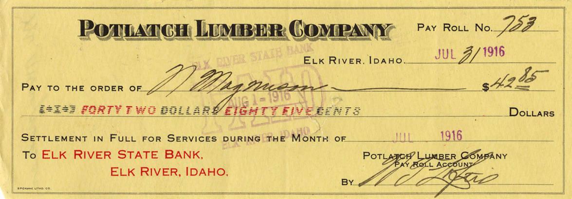 item thumbnail for Potlatch Lumber Company Check