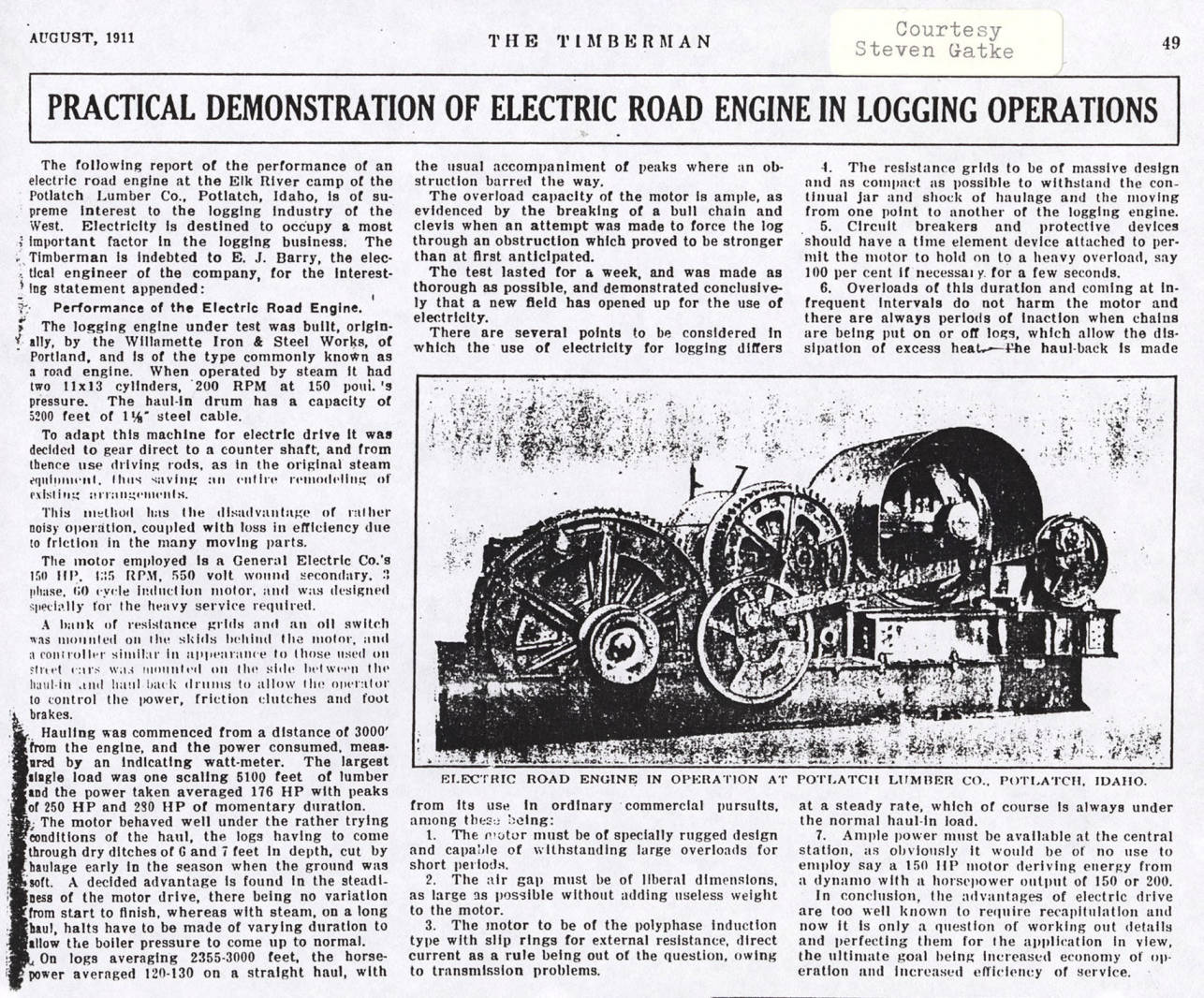 item thumbnail for Electric Road Engine Performance Report