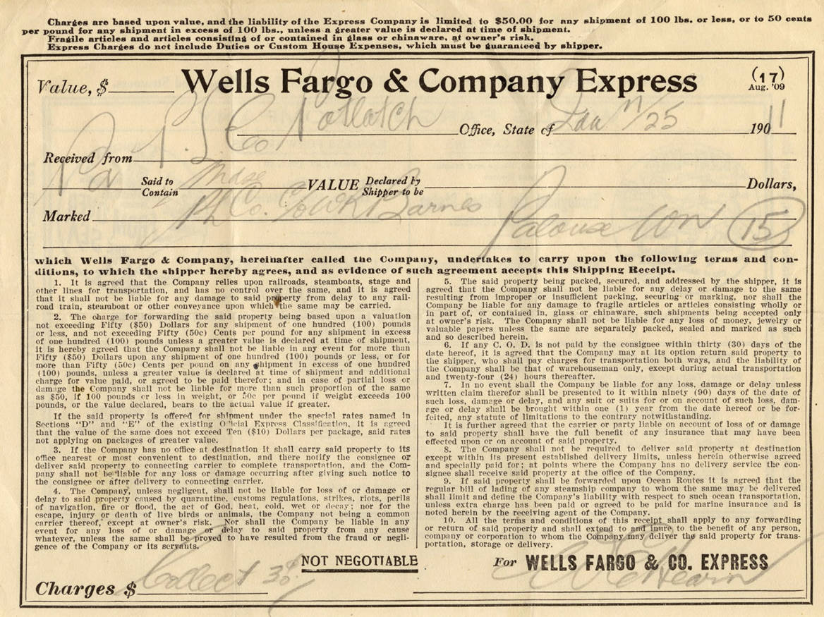item thumbnail for Wells Fargo & Company Shipping Receipt