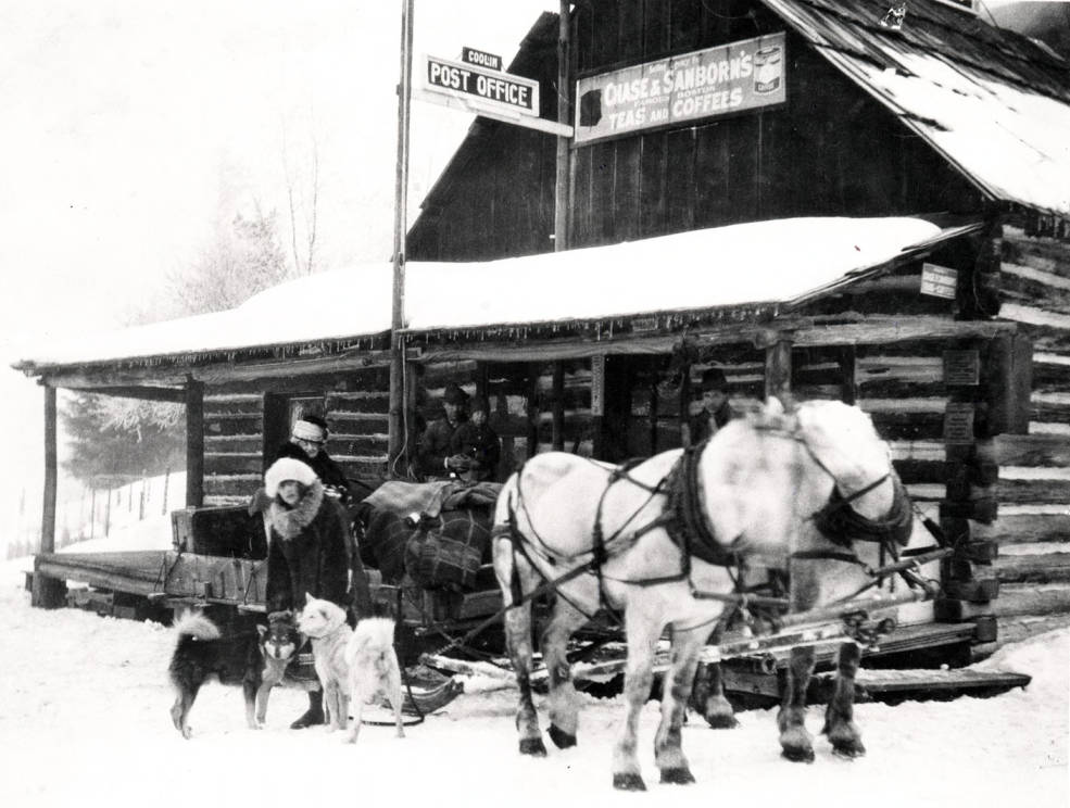 item thumbnail for Nell Shipman and others with horse-drawn sled in front of the Leonard Paul Store. Coolin, Idaho.