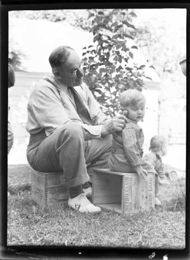 """item thumbnail for Helen and John Laughlin with """"Dad"""" Ward, 1939"""