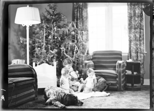 item thumbnail for John, Helen and Kay Laughlin at Christmas, 1938
