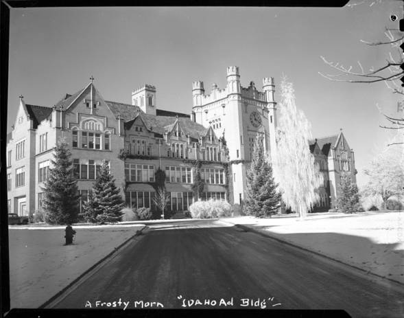 item thumbnail for A Frosty Morn. University of Idaho, Administration Building