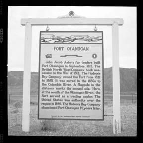 item thumbnail for Fort Okanogan sign (Wash.), 1960