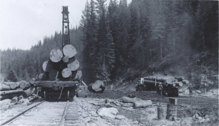 item thumbnail for Flatcar and Truck Loaded with Logs