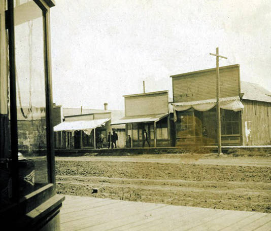 Image of Three unidentified store fronts. Nez Perce, Idaho.