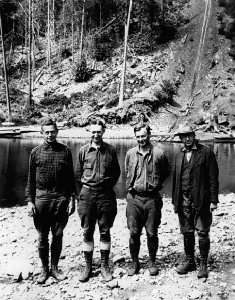 From left, Bob Marshall, Robert Weidman, Gerhard Kempf, and F.G. Miller (University of Idaho).<br&gt;151