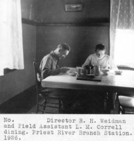 Director R.H. Weidman and Field Assistant L.M. Correll dining.&#34;<br&gt;265