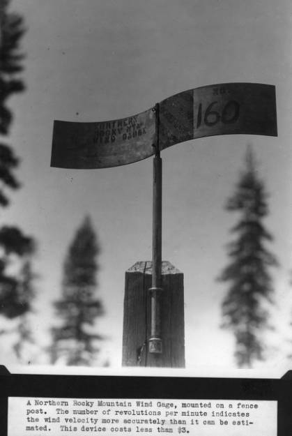 Northern Rocky Mountain Wind Gage, mounted on a fence post<br&gt;329