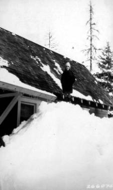 &#34;Snowbank at Cot. #2 Feb, 1932, Priest River Branch Station.&#34;<br&gt;78